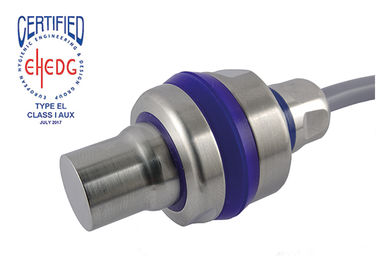 EHEDG certified stainless steel ultrasonic sensor up to 800 mm range incl. mounting bracket