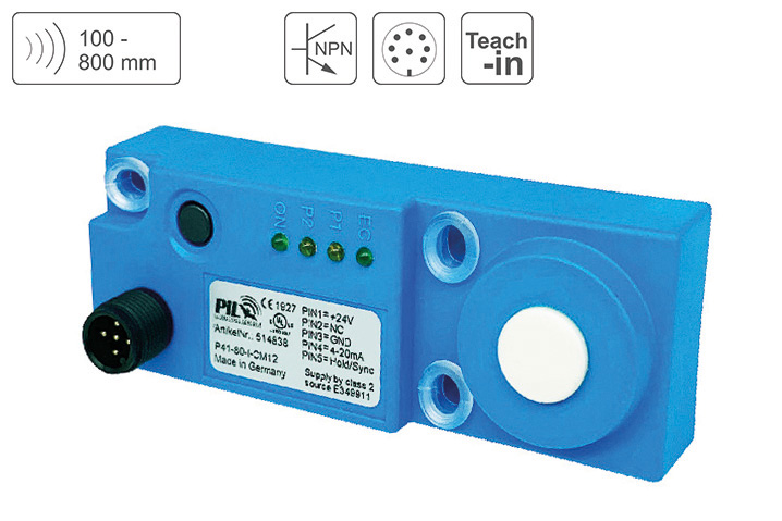P41-80-2N-CM12 Ultrasonic Distance Sensor up to 800 mm Sensing Distance, 2 x NPN