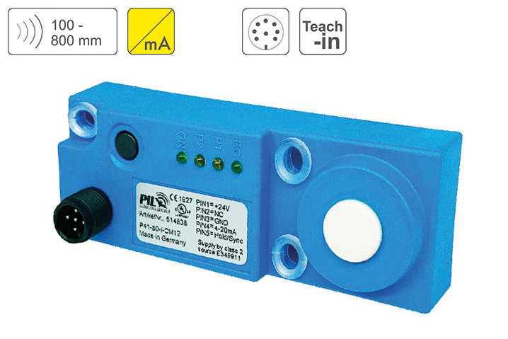 P41-80-I-CM12 Ultrasonic Distance Sensor up to 800 mm Sensing Distance, Output 4-20mA