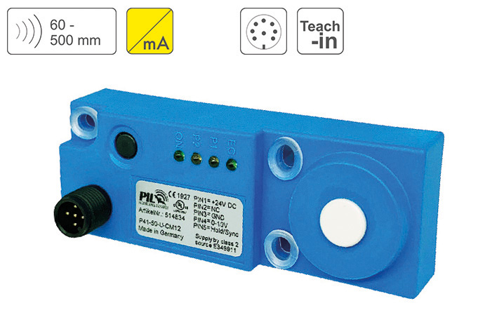 P41-50-I-CM12 Ultrasonic Distance Sensor up to 500 mm Sensing Distance, Output 4-20mA